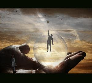 A person in a bubble reaches toward the sky